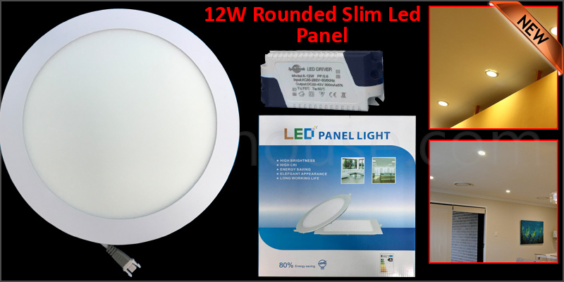 12W Rounded Slim LED Panel Ceiling Cool White Light Office Lighting 170*170mm