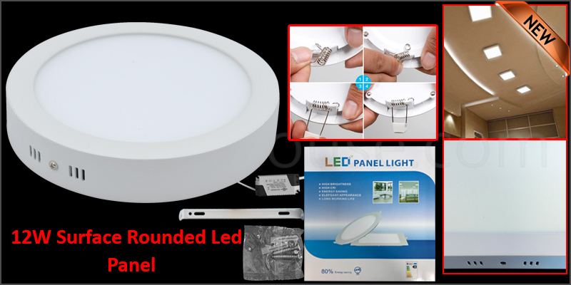 12W Surface Rounded LED Panel Ceiling Cool White Light Office Lighting 170*170mm