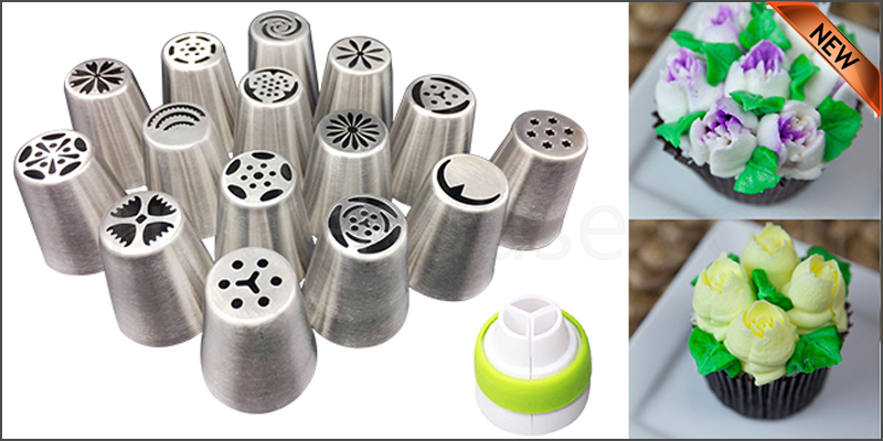 15Pcs/Set Russian Flower Stainless Steel Icing Piping Nozzles Cake Baking Tools