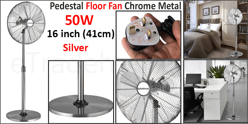 16 Inch Pedestal Fan Oscillating Floor Standing Chrome Metal Electric 3 Speed Fast