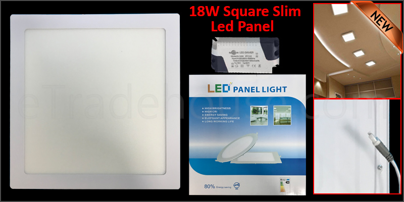18W Slim Square LED Panel Ceiling Cool White Light Office Lighting 225*225mm