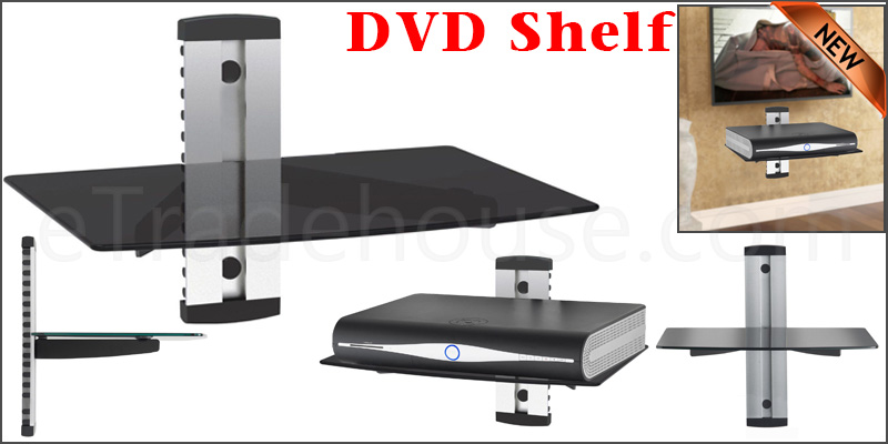 1 Tier Glass Wall Mount Shelf for TV Sky DVD Game Consoles