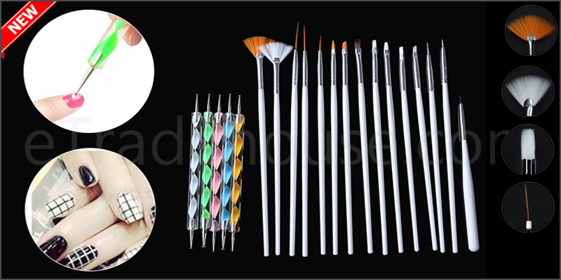 20pc Nail Art Design Painting Dotting Detailing Pen Brushes Bundle Tool Kit Carry Case Set