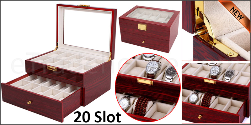 20 Grid Slot Watch Box Transparent Glass Display Organizer Watch Jewelry Wooden Storage Box