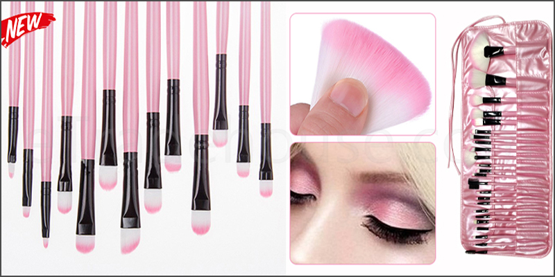 Professional 24 Pieces Makeup Brushes Set with Pink Case