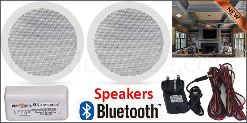 Bathroom Kitchen Wireless Bluetooth Amplifier 2x 5 Inch Ceiling Speakers