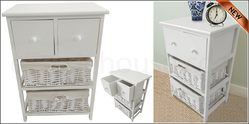 New Shabby Chic 2 Drawer Tall Bedside Unit with Wi