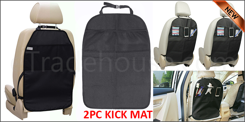 2PC KICK MAT CAR SEAT PROTECTOR COVER MESH POCKETS TOY STORAGE ORGANISER KIDS