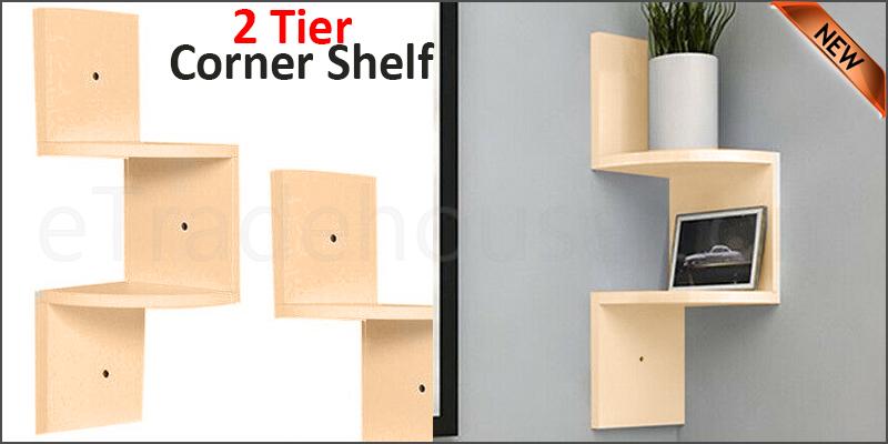 2 Tier Floating Wall Shelves Corner Shelf Storage Display Bookcase 2 Tier