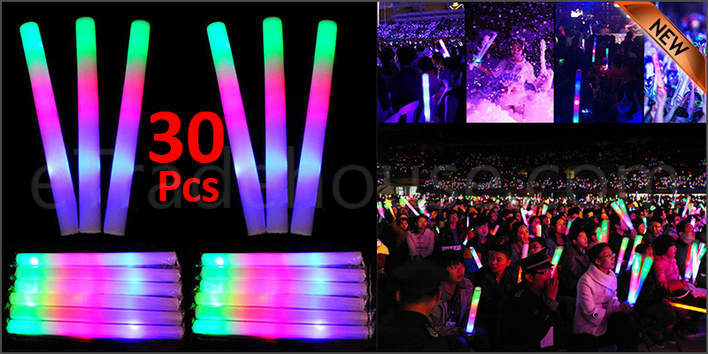 30pcs DJ Flashing Glow Stick LED Wands Rally Rave Batons Light Up Foam Sticks