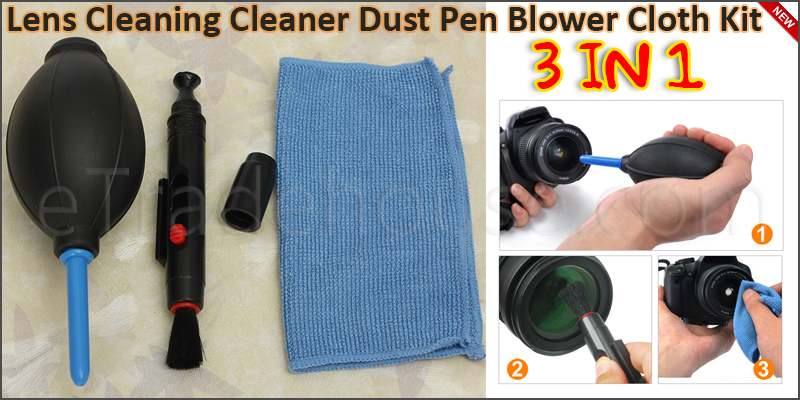 3 in 1 Lens Cleaning Cleaner Dust Pen Blower Cloth