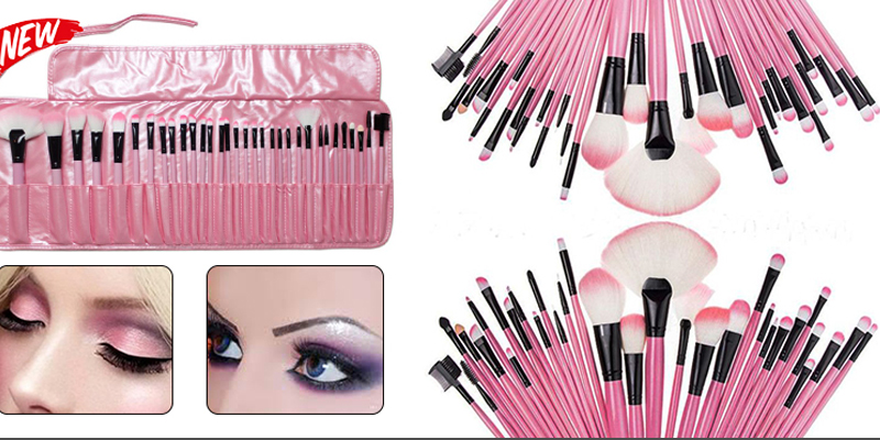 Professional 32 Pieces Makeup Brushes Set with Pink Case