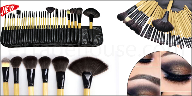 Professional 32 Pieces Makeup Wooden Brushes Set with Black Case