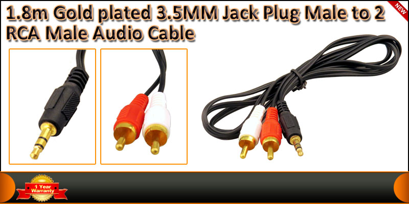 1.8Meter Gold plated 3.5MM Jack Plug Male to 2 RCA cable