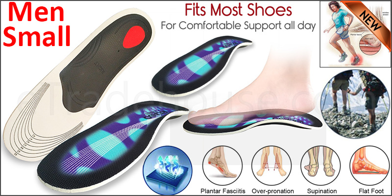 Orthotic pro Insoles Arch Support Heel Cushion Plantar Fasciitis Orthopedic 3D Men Small Blue