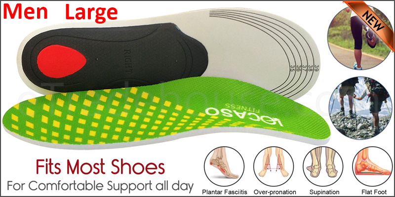 Orthotic pro Insoles Arch Support Heel Cushion Plantar Fasciitis Orthopedic 3D Men Large Green