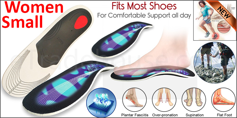 Orthotic pro Insoles Arch Support Heel Cushion Plantar Fasciitis Orthopedic 3D  Women Small Blue