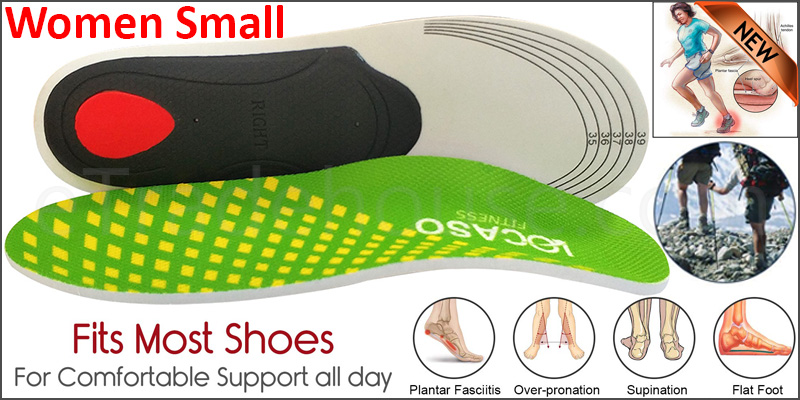 Orthotic pro Insoles Arch Support Heel Cushion Plantar Fasciitis Orthopedic 3D  Women Small Green