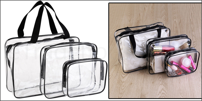 3 Piece Cosmetic Makeup Toiletry Clear PVC Travel Wash Bag Holder Pouch Set Kit