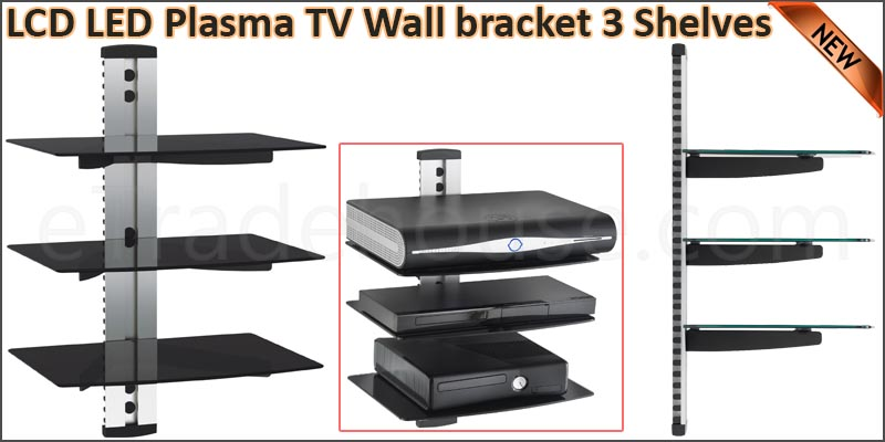 LCD LED Plasma TV Wall bracket 3 Shelves for SKY D