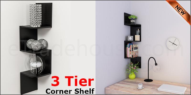 3 Tier Floating Wall Shelves Corner Shelf Storage Display Bookcase 3 Tier