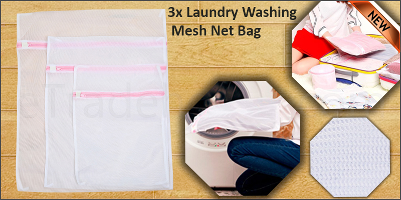 3x Laundry Washing Mesh Net Lingerie Underwear Bra Clothes Socks Zipped Wash Bag
