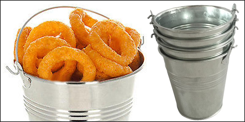 4 x STEEL TIN SERVING BUCKETS, FOOD PRESENTATION, CHIP FRIES DISPLAY PLANTS POT