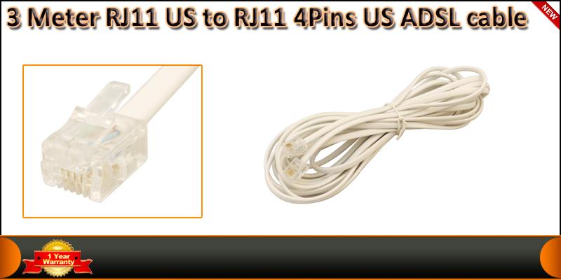 High Quality 3 Meter 4 Pin RJ11 US to RJ11 US ADSL