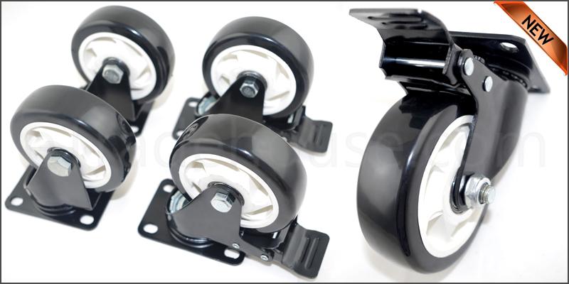 4 x Heavy Duty 600kg 100mm PU Swivel Castor Wheels