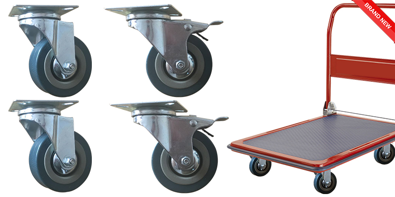 Set of Heavy Duty 75mm Rubber Swivel Castor Wheels Trolley Caster 2 with Brake and 2 Without Brake