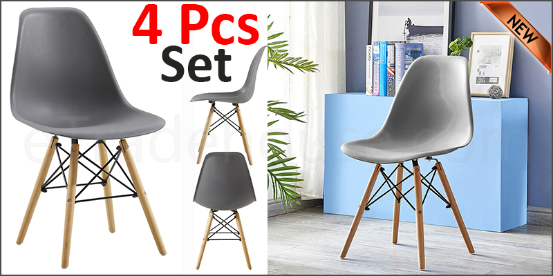 Plastic Designer Style Dining Chairs Eiffel Retro Lounge Office Chair 4 IN ONE PACKAGE COLOUR GREY