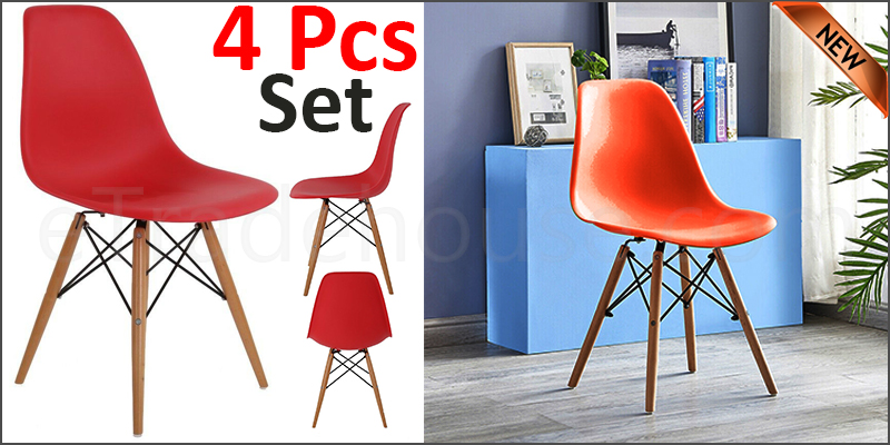 Plastic Designer Style Dining Chairs Eiffel Retro Lounge Office Chair 4 IN ONE PACKAGE COLOUR RED