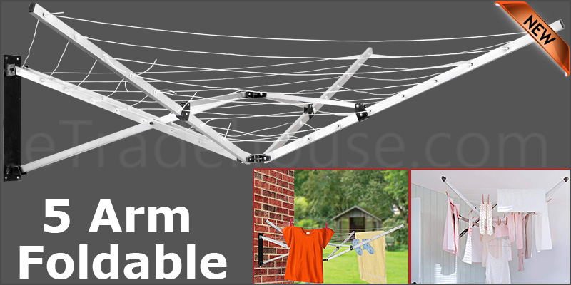 5 Arm Folding Wall Mounted Garden Clothes Airer Dryer Washing Line