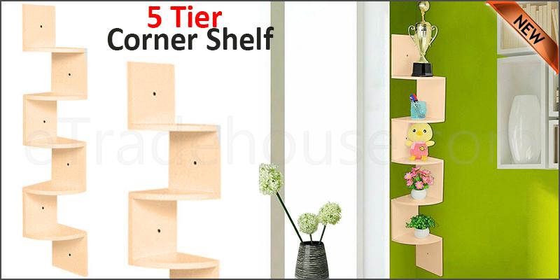 5 Tier Floating Wall Shelves Corner Shelf Storage Display Bookcase 5 Tier