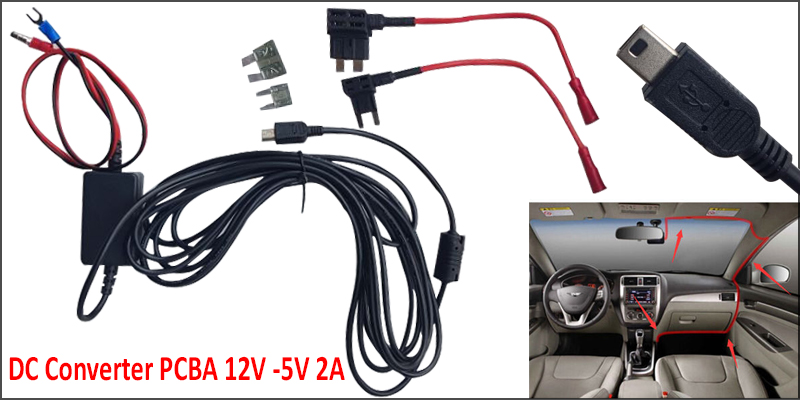 12V-24V to 5V Step Down Mini B 5 Pin USB Port Charger Module