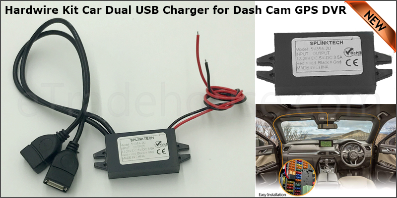 Dual USB Car Charger Hardwire Kit for Dash Cam GPS DVR