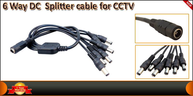 6 Way DC Splitter Cable for CCTV