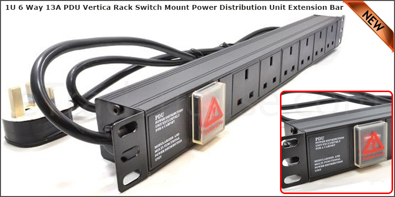 1U 6 Way 13A PDU 19 Inch Extension Rack Switch Horizontal Mount Power Distribution Unit