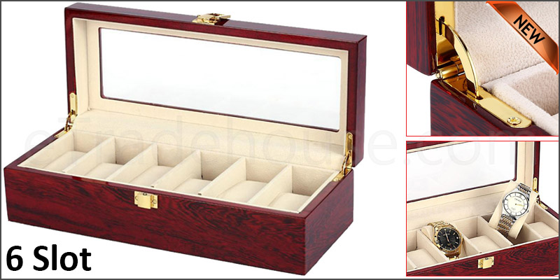 6 Grid Slot Watch Box Transparent Glass Display Organizer Watch Jewelry Wooden Storage Box