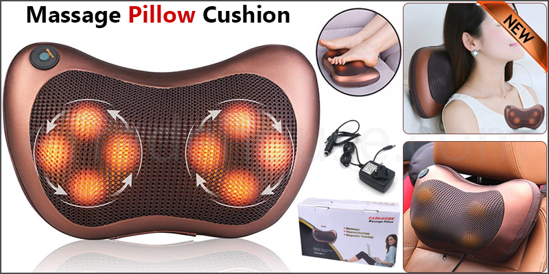 12V DC 8 x Kneading Rollers Neck Shoulder Back Massage Pillow Cushion Car Shiatsu