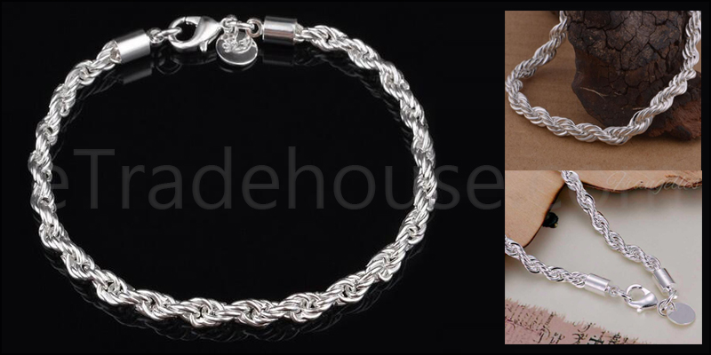 925 Sterling Silver plated Twisted Rope Cord 8 Inc