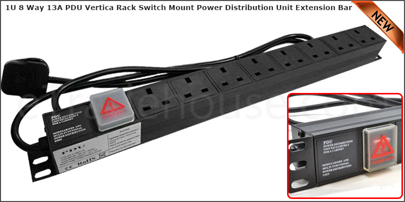 1U 8 Way 13A PDU Extension Rack Switch Horizontal Mount Power Distribution Unit