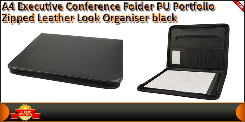 A4 Executive Conference Folder Portfolio Zipped PU