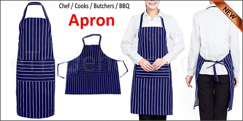 Chefs Apron Professional Quality Butchers Kitchen Cooks Restaurant Bistro BBQ School College Double Pockets
