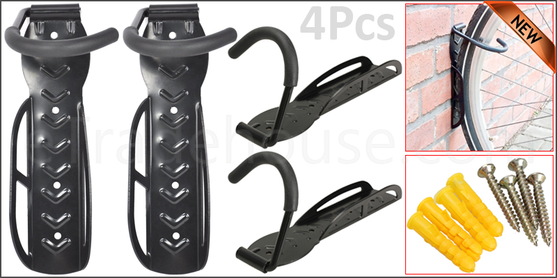 4x Steel Bike & Bicycle Storage Wall Mounted Mount