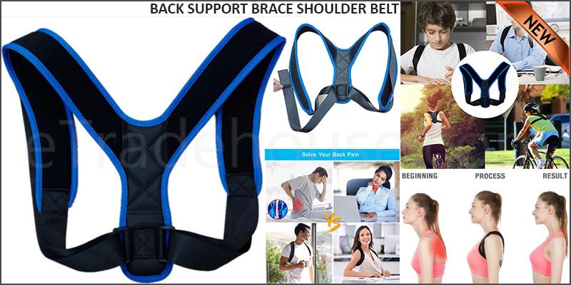 Unisex Adjustable Magnetic Posture Back Support Brace Shoulder Belt Corrector
