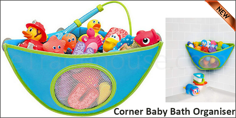 Bathroom Waterproof Adjustable Toy Organiser Storage Bag Baby Suction Cup Bath Corner Triangle