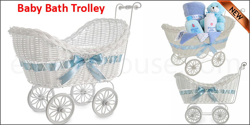 Large Boys Girls Baby Pram Hamper Wicker Basket