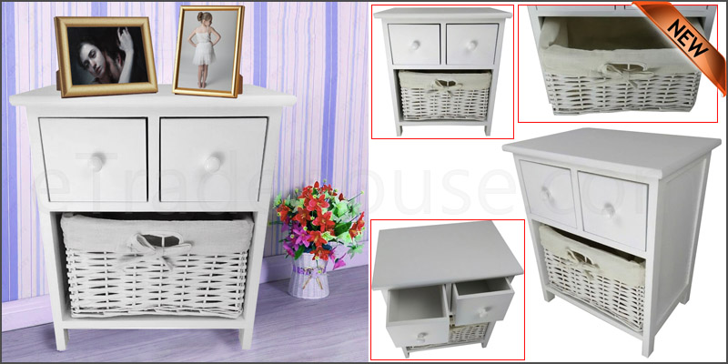 New White Wooden Shabby Chic Storage Unit Bedside