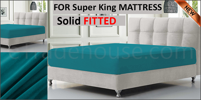 solid super king fitted sheet 183*203+15 pillowcase 50*75cm*2